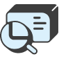 Magnifying glass square icon blue