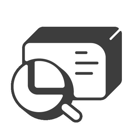Supermetrics magnifying glass icon white