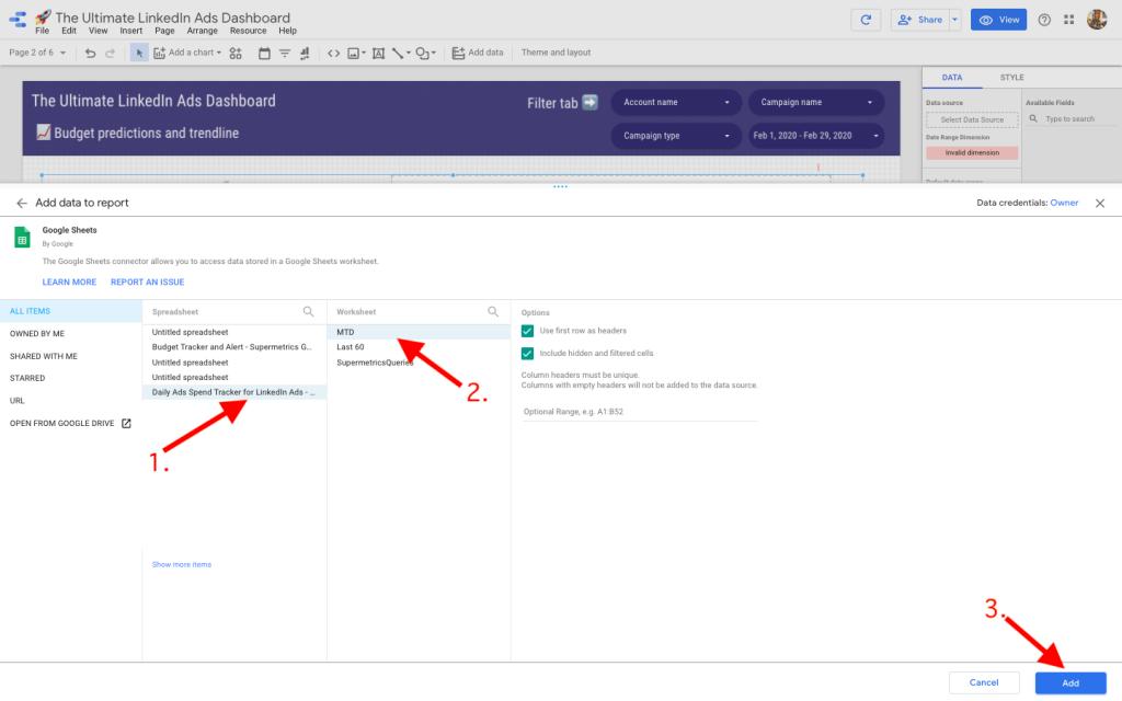 Set up LinkedIn Ads dashboard in Data Studio