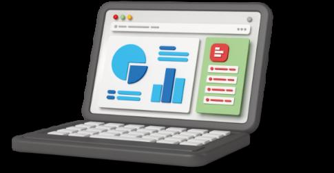 Supermetrics dashboard on laptop screen 3D