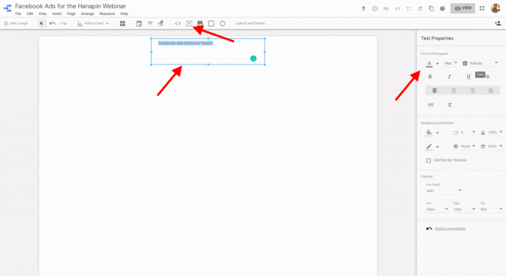 use the text tool in google data studio