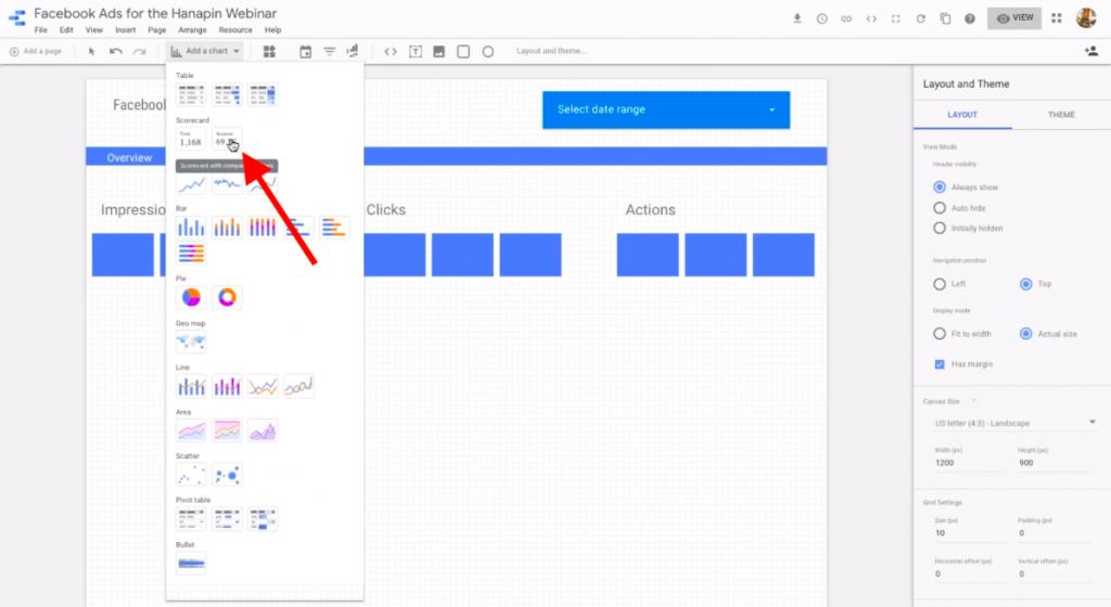 add a scorecard in google data studio