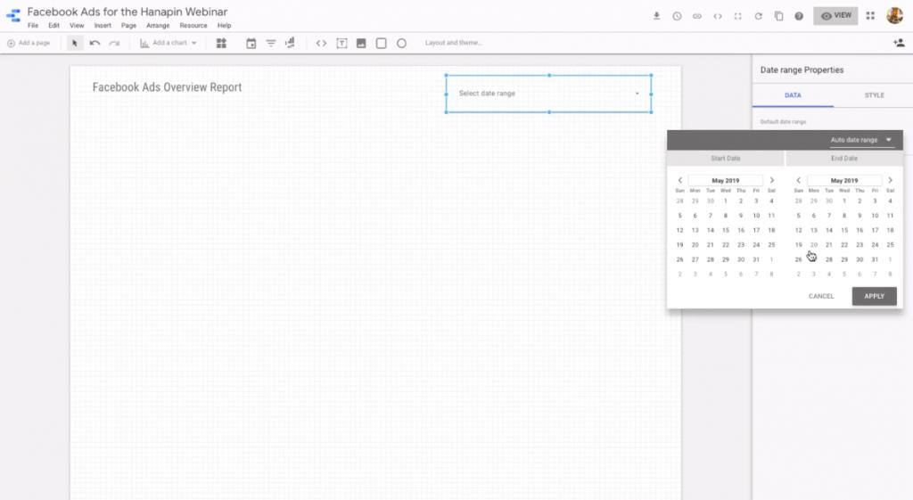 date range picker in google data studio