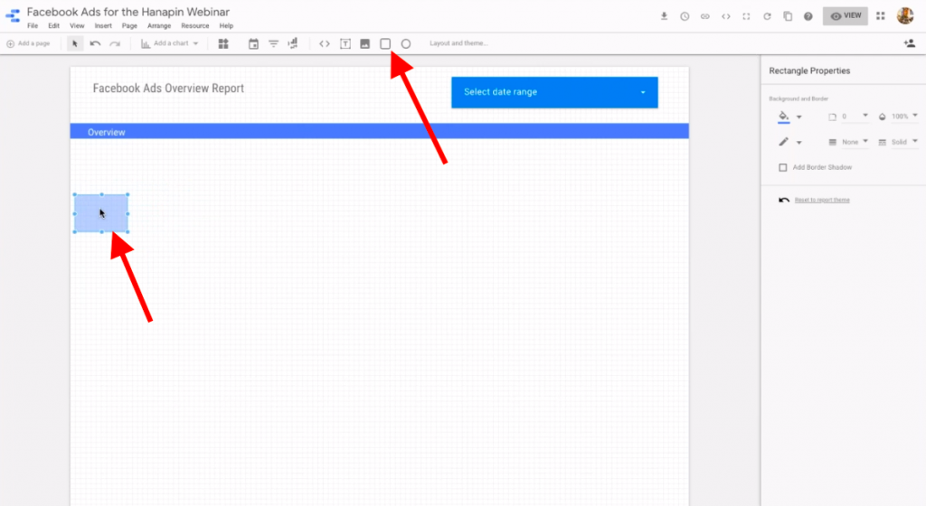 use the rectangle tool in google data studio