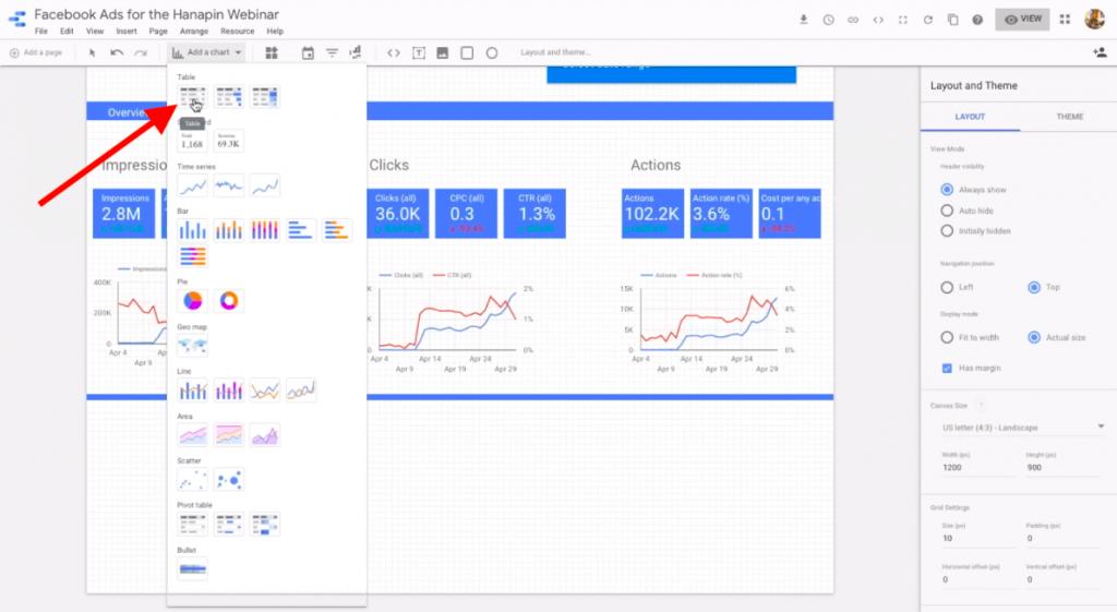add a table in google data studio