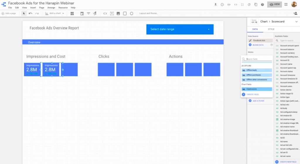 add a metric to a scorecard in google data studio