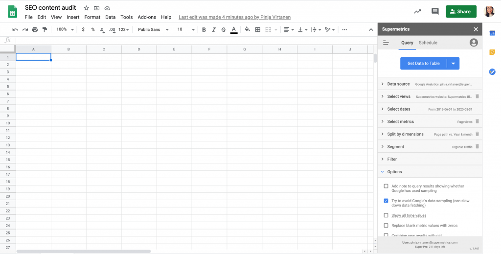 Supermetrics query in Google Sheets