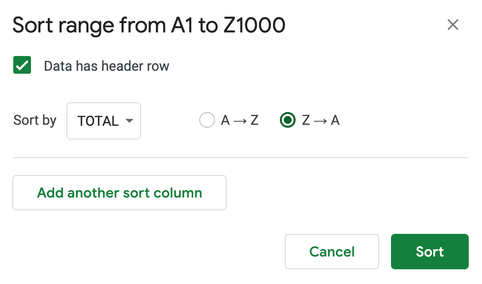 How to sort data in google sheets