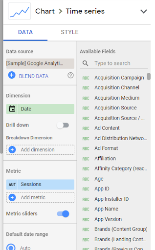 how to add a time series chart to google data studio