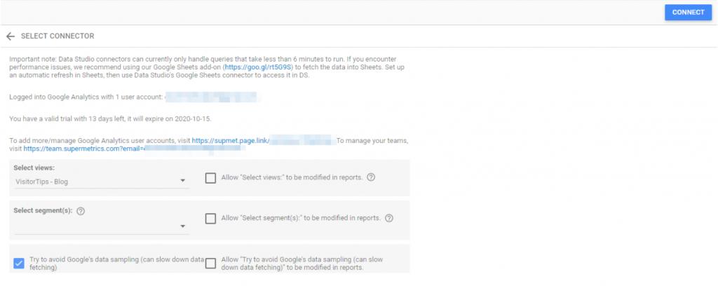 Avoid Google Analytics data sampling in Data Studio