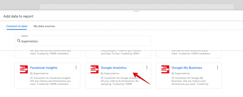 Supermetrics Google Analytics connector in Google Data Studio