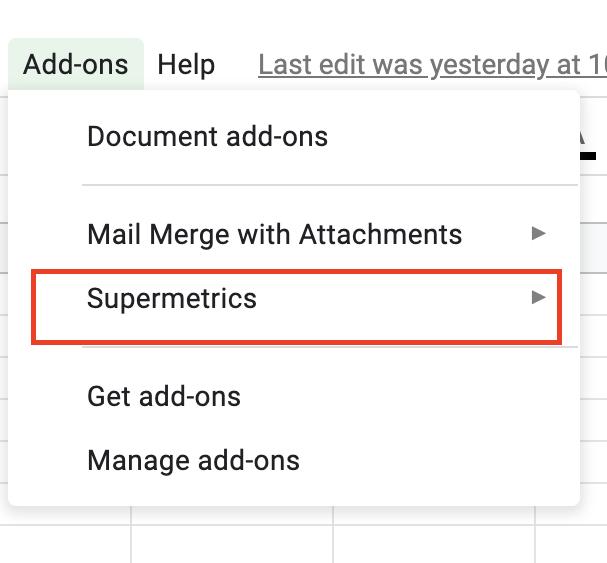 Install Supermetrics for Google Sheets