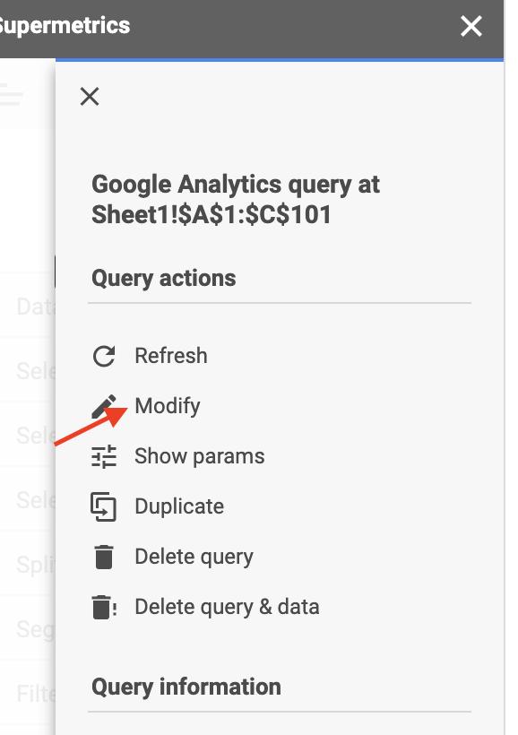 Modify query