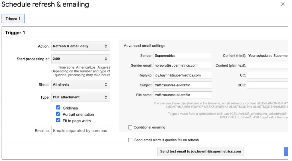 Schedule refresh & emailing