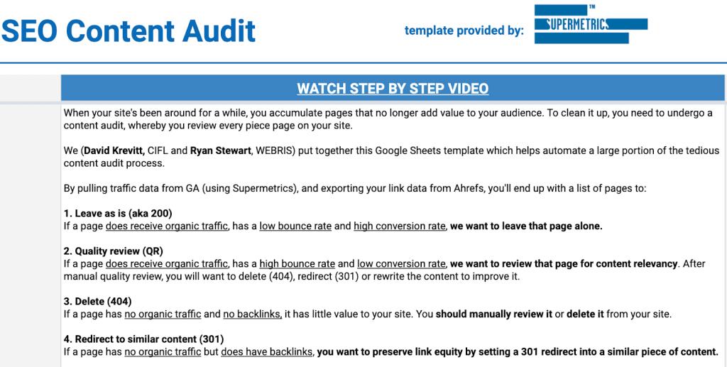 SEO content audit template