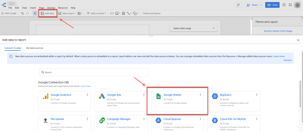 Connect Google Sheets to Data Studio