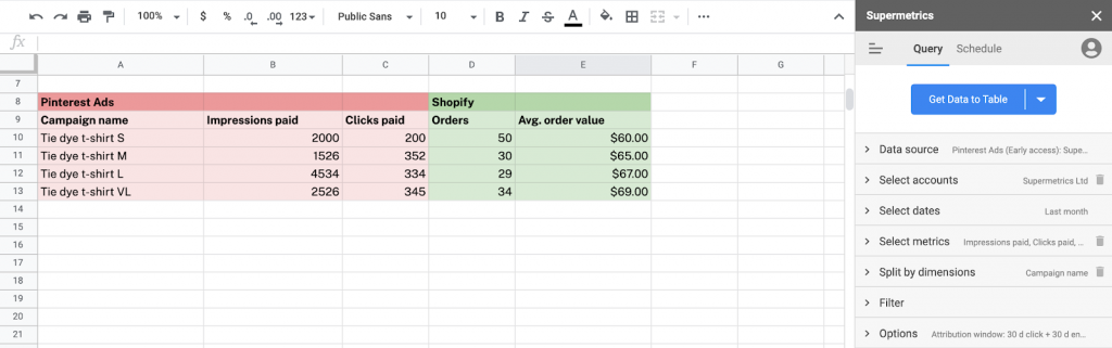Combine Pinterest Ads and Shopify data