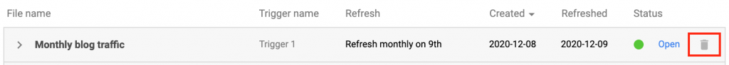 How to delete a trigger in Supermetrics for Google Sheets