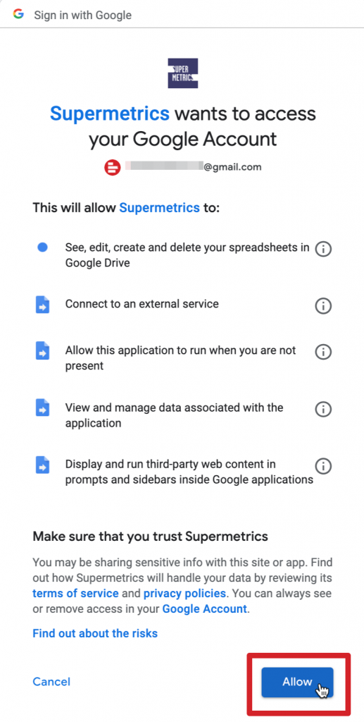Allow Supermetrics to access your Google account