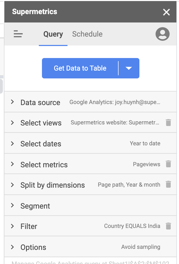 Set up a query in the Supermetrics sidebar
