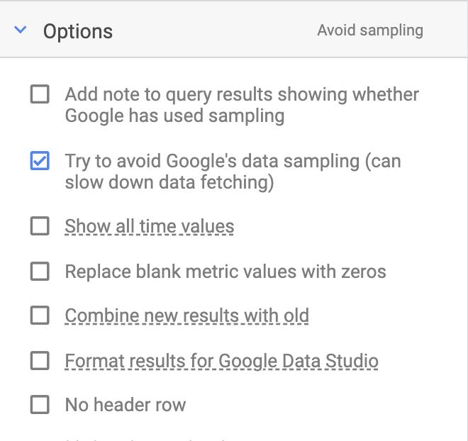 Avoid Google Analytics sampling in the Supermetrics sidebar