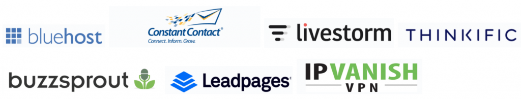 sample of brand names and logos of affiliate promotions on adam enfroy's website