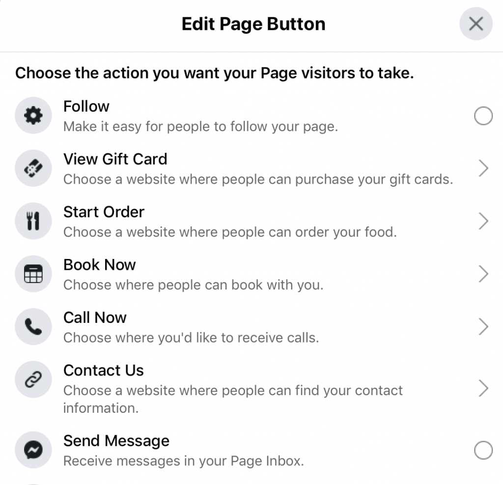 edit window for facebook page cta button