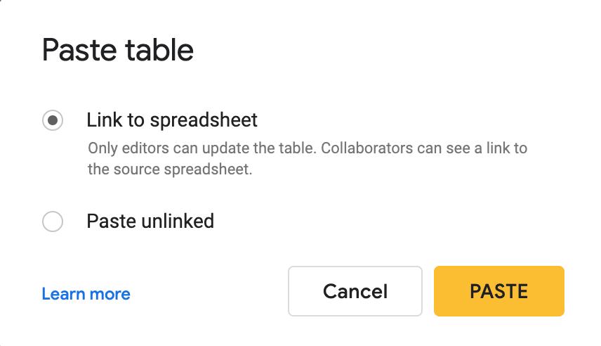 Import Google Sheets table to Google Slides