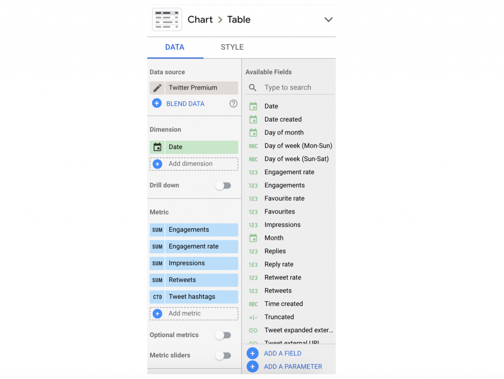 query manager on supermetrics for google sheets with twitter as data source