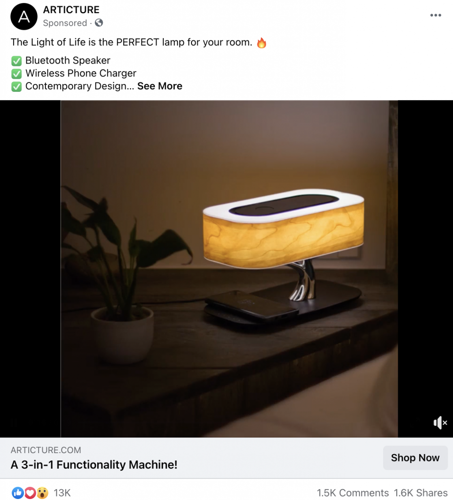 Facebook Ads re-engagement ad example