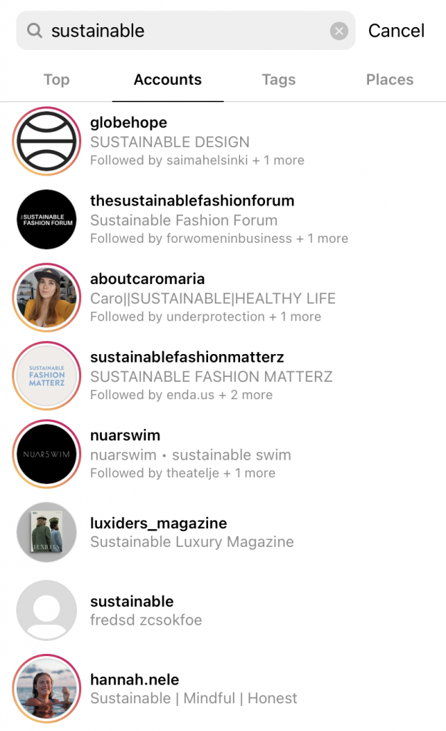 How to find your competitors on Instagram using search for accounts