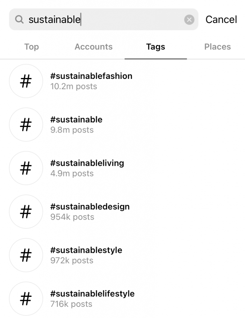 How to find your competitors on Instagram using search for hashtags