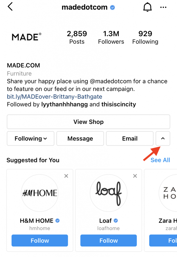 How to find your competitors on Instagram using suggested for you