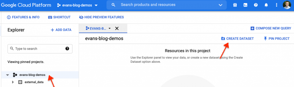 How to create a dataset in BigQuery