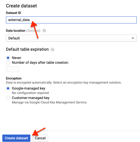 Create an external dataset in Google Sheets in BigQuery