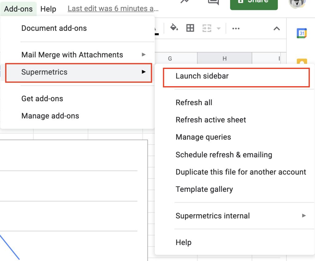 Supermetrics Google Sheets sidebar