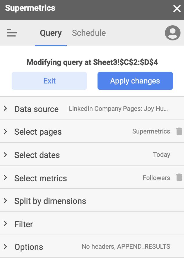 Supermetrics query