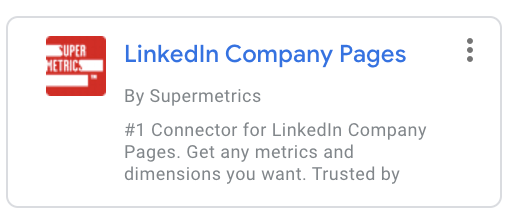 Google Data Studio connector - LinedIn Company Pages by Supermetrics