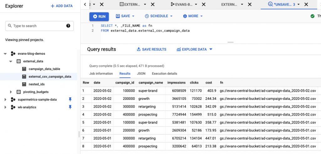 Data in Google BigQuery