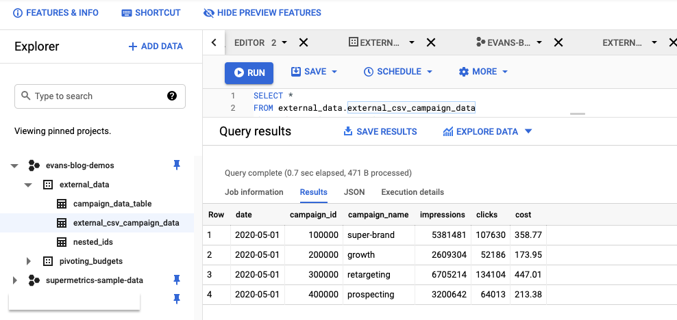 Query in Google BigQuery