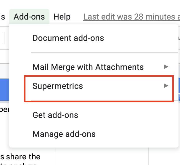 Google Sheets, add-ons, Supermetrics, drop-down menu
