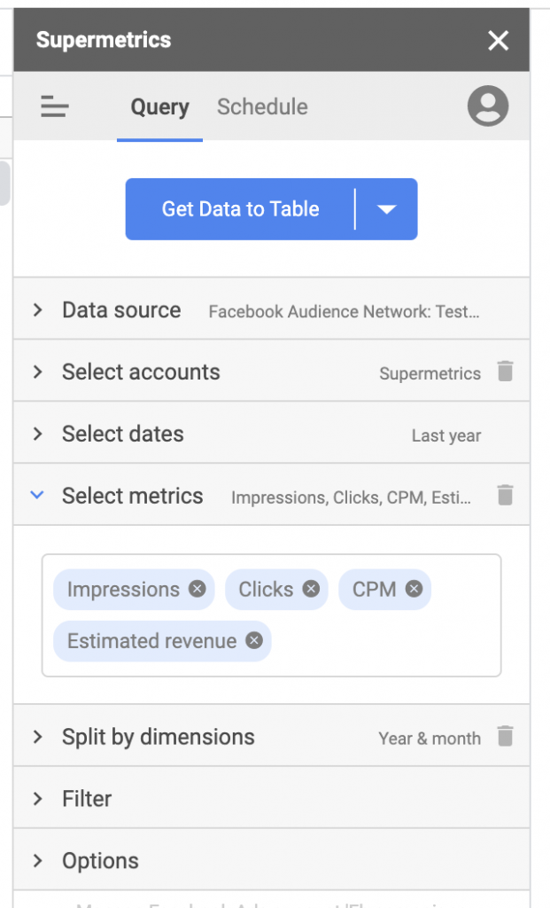 Import Facebook Audience Network data to Google Sheets, sidebar