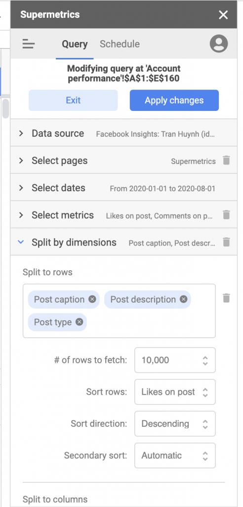 Import Facebook Page data to Google Sheets, sidebar