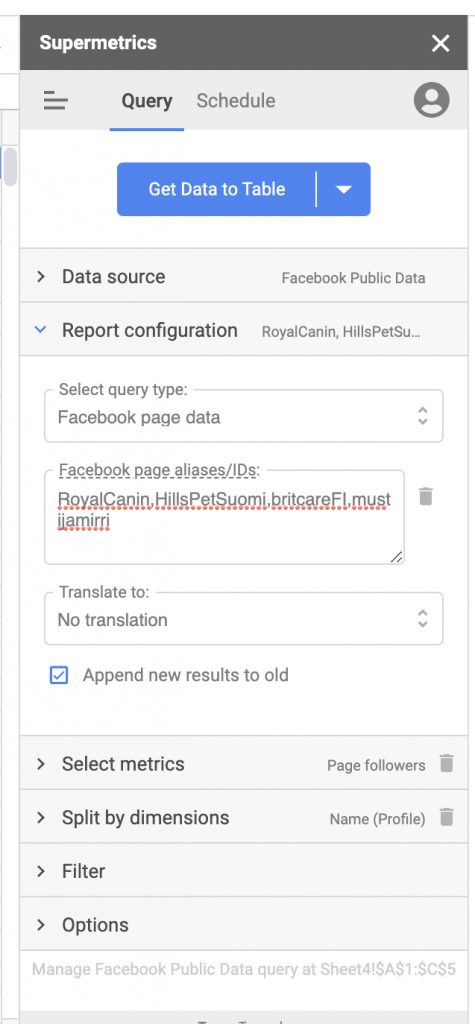 Import Facebook public data to Google Sheets, report