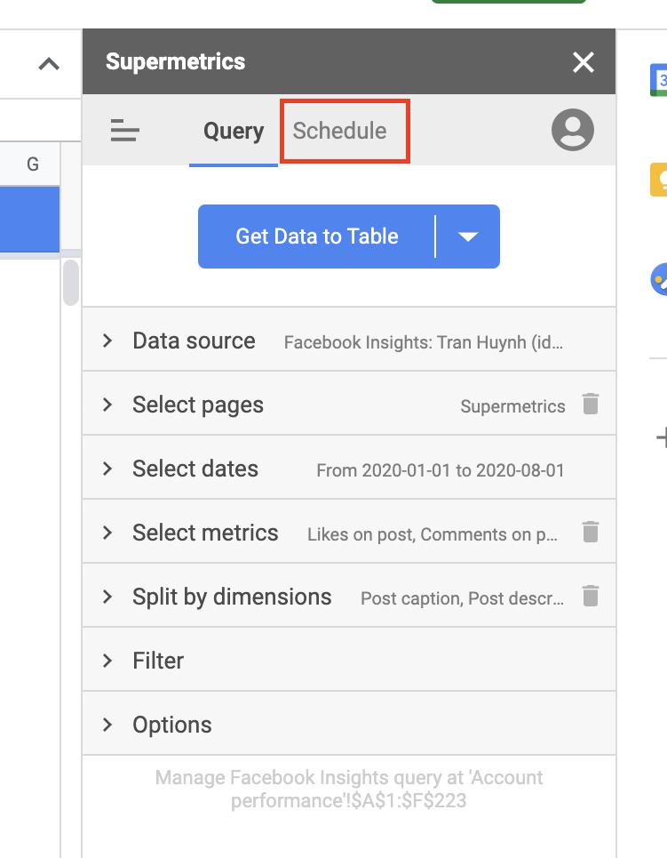 Supermetrics for Google Sheets sidebar query settings