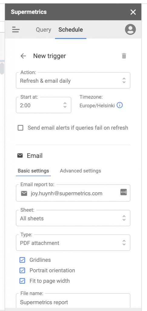 Supermetrics for Google Sheets sidebar schedule settings