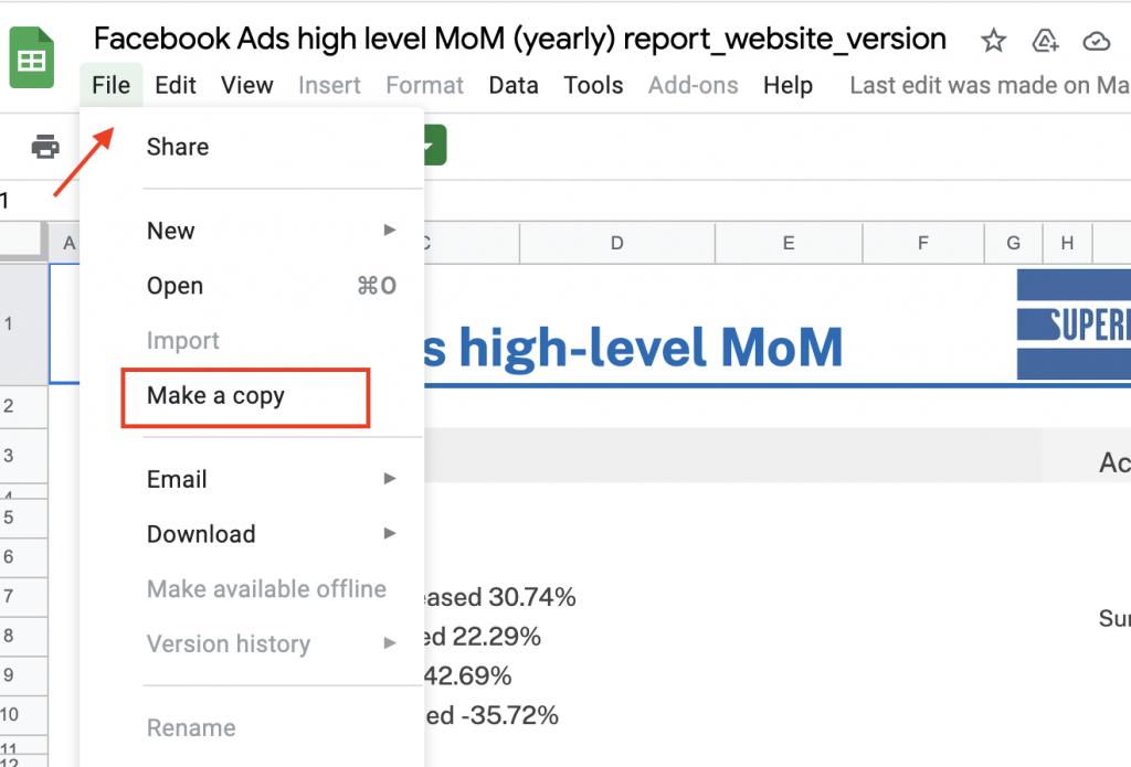 Google Sheets Facebook Ads template copy drop-down menu