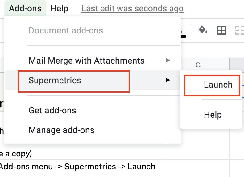 Launch the Supermetrics sidebar in Google Sheets