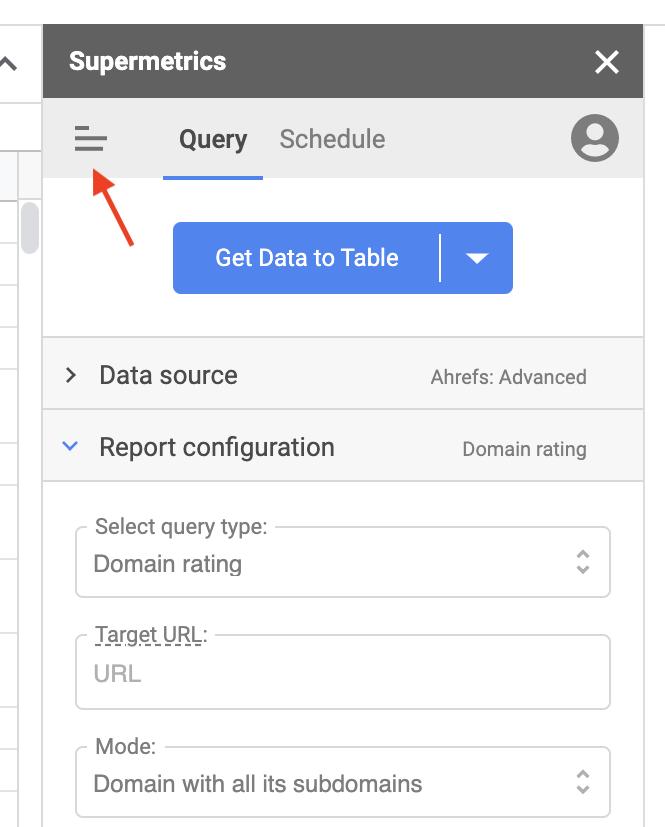 Supermetrics for Google Sheets query sidebar.
