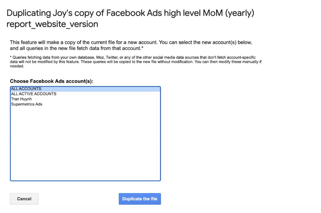 Supermetrics for Google Sheets, add Facebook Ads accounts.